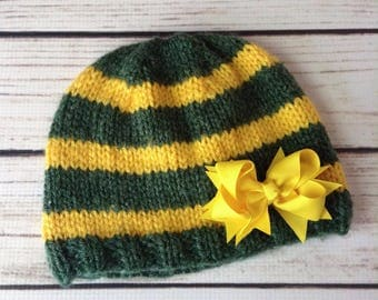 Green Bay Beanie, Child Beanie, Child Hat, Toddler Hat, Packer Colors, Green Bay Packers, Striped Hat, Green and Gold Hat