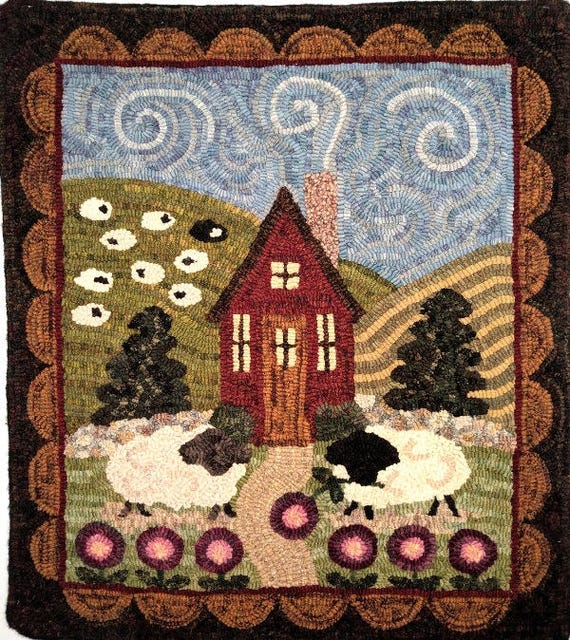 "Rug Hooking PATTERN, Sheep in the Meadow, 22"" x 26"", P130, Folk Art Cottage and Sheep Pattern, Wide Cut Primitive Hooking, DIY"