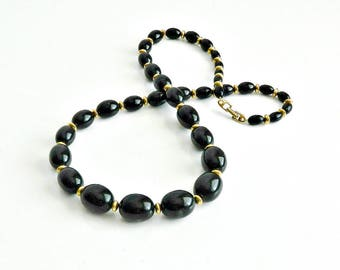 Vintage Jewelry, Vintage Napier Necklace, Long Black Beaded Necklace, Graduated Black Beads & Gold Accent Beads