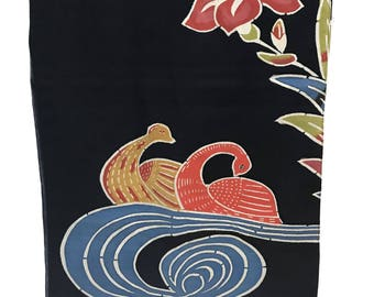 Vintage Japanese Doorway Curtains NOREN, half door, hand painted on linen, flowers swans