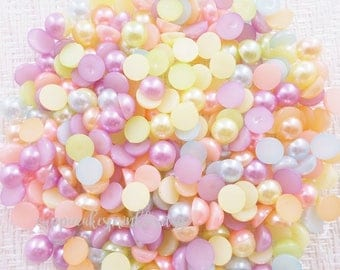 100pcs - 8mm Pastel Mixed Flatback Pearls Decoden PRL308