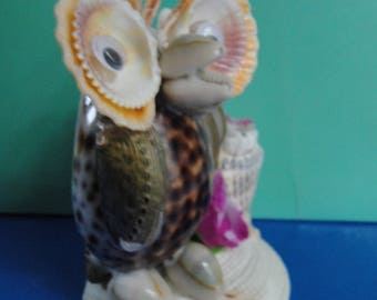 Seashells Tiger Shell Owl Mother and Child Figurine.