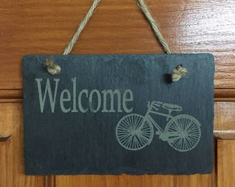 Welcome slate tile with vintage inspired bicycle.
