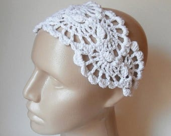ON SALE 15 % SALE Crochet HairBand - Lace Head Band- Crochet Lace  Headband- Hair Accessories - Crochet HairBand in White
