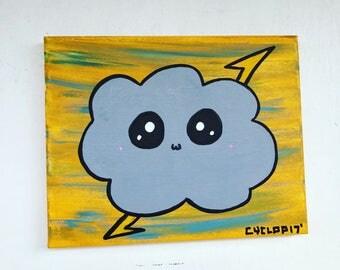 Kawaii Cloud Acrylic Painting