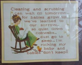 Vintage SUNSET STITCHERY Crewel Kit 'Babies Don't Keep' #2654 Mother/Child NEW