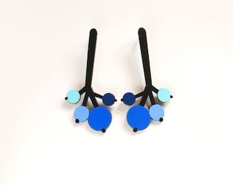 Black and Blue Long Plywood floral post earrings