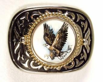 The Eagle is Landing: Hand Painted Ceramic Insert Western-Style Belt Buckle - OOAK ~ Vintage