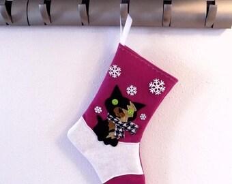 CHRISTMAS IN JULY Tortoiseshell Cat Kitten Personalized Christmas Stocking by Allenbrite Studio