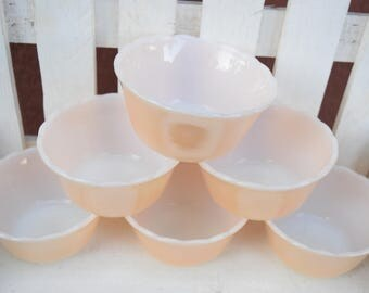 Vintage Fire King Peach Luster by Anchor Hocking Dessert Cups, 6 OZ Custard Cups, Set of Six Custard Cups