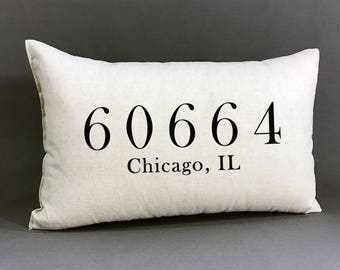 Personalized Zip Code Pillow, Housewarming Gift, Zip Code, City And State Pillow, Cotton Linen Home Decor Pillow, Wedding Zip Code Pillow