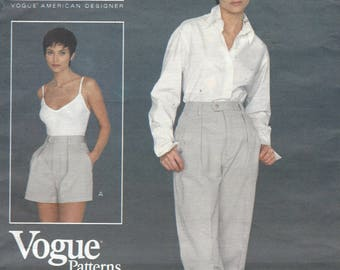 1990s Calvin Klein Womens Shorts & Tapered Pants High Waist Vogue Sewing Pattern 1379 Size 8 10 12 Hip 33 1/2 to 36 FF American Designer