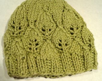 Knitted baby hat leaf pattern green sage  0 to 3 months