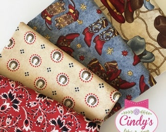 Western Cowboy Hold Em Fold Em Cowboy boots, Cowboy hats, Cotton Quilt Fabric set of 4 FQ Fat Quarters Bundle