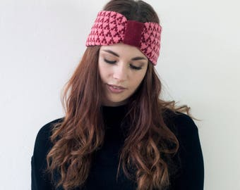 SAMPLE SALE Arrow knitted headband - red and pink - lambswool headband made in Britain