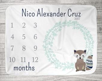 "FREE US SHIPPING Milestone Photo Blanket // Fleece or Minky  34"" x 52""// Newborn Photo Blanket // Tribal Fox Wreath in Navy + Aqua Mist"