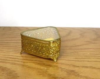 Vintage Gold Filigree Jewelry Box 1960's Hollywood Regency Vanity Box  Gold Floral Filigiree Keepsake Box