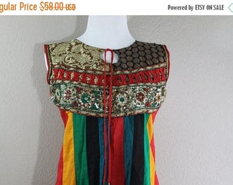 SALE ethnic colorful stripe dress with sparkle- hippie Boho