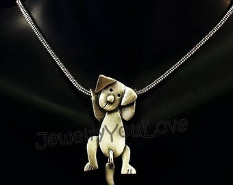 Sterling Silver Beagle Necklace - Pebbles