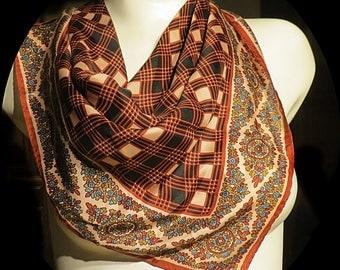 Vintage Silk Scarf  27 x 28  #162