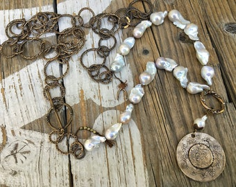 Nucleated Pearl Necklace, Luminous White Flameball Pearls, Baroque Pearls, Fleur de Lis, Loopy Antique Bronze Chain, Short or Long Necklace