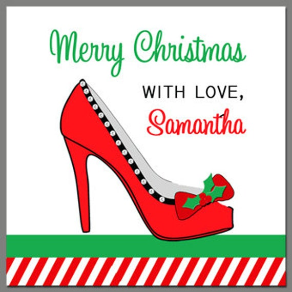 Personalized high heel christmas gift tags printable or printed il570xn negle Image collections