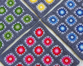 Set of 4 crochet granny square cushion covers pillow covers in grey edging