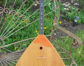SOLD do not purchase Vintage Lunacharsky Balalaika USSR Russian Plays Great 1970s 3 String  Folk Instrument Free Shipping