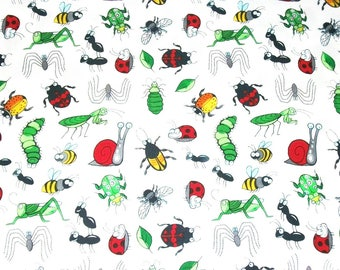 Bug Fabric, Blank Textiles, By The Yard, Garden Critters Collection, Novelty Fabric, Sewing Crafting Fabric, Ladybug Fabric, Bumble Bees