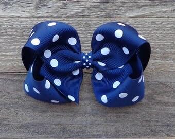 Boutique Hair Bow~Navy Blue Boutique Bow~Polka Dot Hair Bow~Medium/Large Boutique Bow~Polka Dot Bows~Basic Hair Bow~Simple Hair Bow~Hair Bow