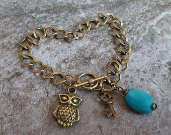 Owl Turquoise Link Chain Bracelet - Antique Bronze Owl Charm Blue Turquoise Oval Key Charm Toggle Bracelet - Jingsbeadingworld, Clearance
