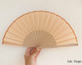 Pale Peach With Bronze Border Spanish Hand Fan Limited Edition by Kate Dengra Spain