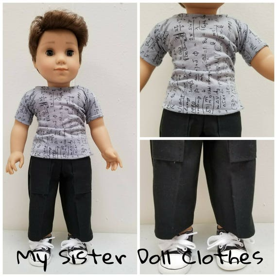 Cargo Pants,  Tshirt and black sneakers for Logan. 18 Inch Doll American Handmade