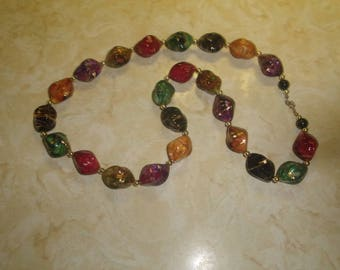 vintage necklace colorful lucite gold swirl beads