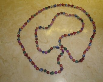 vintage necklace long colorful swirl lucite beads