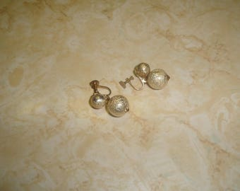 vintage clip on earrings goldtone ball dangles