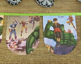 The Incredible Hulk Bunting. Superhero Banner Book Wall Hanging. Thor Hulk Iron Man Avengers. Girl Children Boy Captain America Unisex