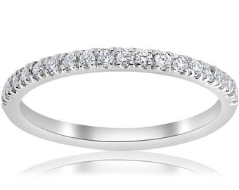 1/5ct Pave Diamond Wedding Ring Stackable Anniversary Band 14k White Gold