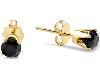 1ct Black Diamond Studs in 14k Yellow Gold
