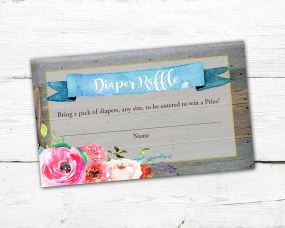 floral baby shower diaper raffle card floral diaper raffle floral