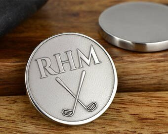 Monogram Golf Club Ball Marker, Personalized Ball Marker, Engraved Ball Marker- Dad Gift, Retirement Gift ANY TEXT 40 Char!