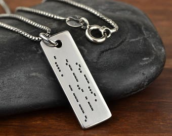 Morse Code Necklace, Morse Code Jewelry, Secret Message Necklace, Hidden Message, Gift for her, Anniversary Gift - 16 Char per line