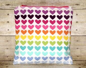 Rainbow Hearts Small Wet Bag, Cloth Diaper Wet Bag, Reusable Waterproof Bag, Beach Bag, Pool Bag, Lunch Bag, Swimsuit Bag, Makeup Bag