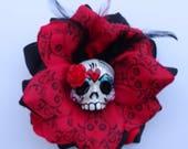 Black and Wine Red Rose Romantic Day of The Dead Clay Sugar Skull Dia De Los Muertos Hair Rose Mexican Rockabilly Art