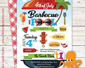 Barbecue, BBQ, Pool, Graduation, Birthday, Party, Invitation