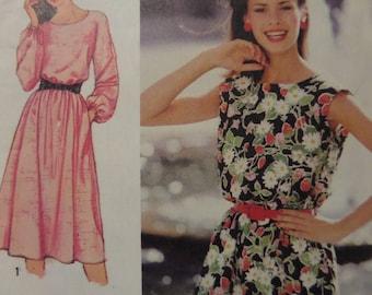PULLOVER DRESS Pattern • Simplicity 9444 • Miss 6-8 • Blouson Dress • Sleeveless Dress • Sewing Patterns • Womens Patterns • WhiletheCatNaps