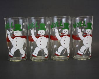 Vintage Noel Frosty Snowman Christmas Drinking Tumblers, Set of 4 (E2635)