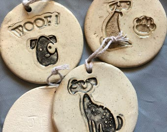 Dog ornament puppy pet handcrafted ceramic pottery