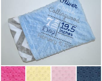 Birth Stats Chevron Minky Baby Blanket  - Gray Assorted Minky Dot -  Personalized - Soft - Birth Announcement photo prop Newborn