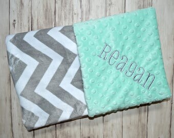 Monogrammed Chevron Minky Baby Blanket, Gray and Mint Green Personalized Blanket with name, Soft Neutral - zig zag - Birth Stats Newborn